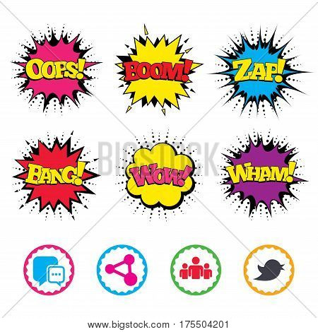 Comic Wow, Oops, Boom and Wham sound effects. Social media icons. Chat speech bubble and Bird chick symbols. Human group sign. Zap speech bubbles in pop art. Vector