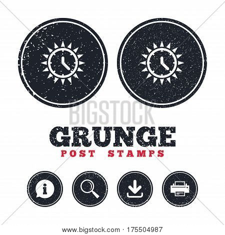 Grunge post stamps. Summer time icon. Sunny day sign. Daylight saving time symbol. Information, download and printer signs. Aged texture web buttons. Vector