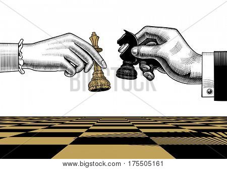 Woman's and man's hands with king and horse chess pieces. Vintage engraving stylized drawing
