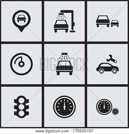 Set Of 9 Editable Car Icons. Includes Symbols Such As Stoplight, Automotive Fix, Pointer And More. Can Be Used For Web, Mobile, UI And Infographic Design.
