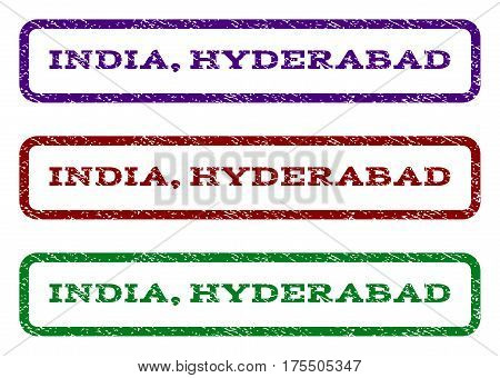 India, Hyderabad watermark stamp. Text caption inside rounded rectangle with grunge design style. Vector variants are indigo blue, red, green ink colors. Rubber seal stamp with dust texture.