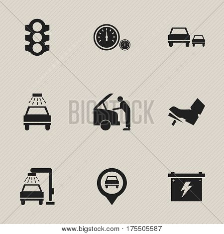 Set Of 9 Editable Traffic Icons. Includes Symbols Such As Battery, Car Lave, Vehicle Wash And More. Can Be Used For Web, Mobile, UI And Infographic Design.