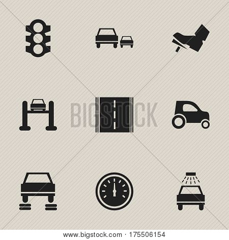 Set Of 9 Editable Vehicle Icons. Includes Symbols Such As Stoplight, Car Lave, Treadle And More. Can Be Used For Web, Mobile, UI And Infographic Design.