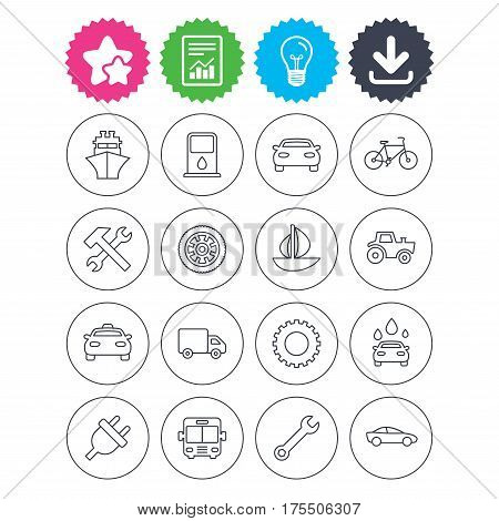 Download, light bulb and report signs. Transport and services icons. Ship, car and public bus, taxi. Repair hammer and wrench key, wheel and cogwheel. Sailboat and bicycle. Best quality star symbol