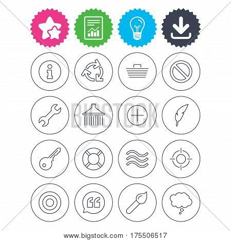 Download, light bulb and report signs. Universal icons. Information, shopping basket and shower. Repair tool, home key and brush. Comic speech bubble, target aim and quotes. Best quality star symbol