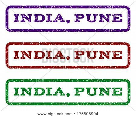 India, Pune watermark stamp. Text caption inside rounded rectangle frame with grunge design style. Vector variants are indigo blue, red, green ink colors. Rubber seal stamp with dirty texture.