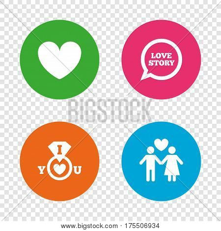 Valentine day love icons. I love you ring symbol. Couple lovers sign. Love story speech bubble. Round buttons on transparent background. Vector