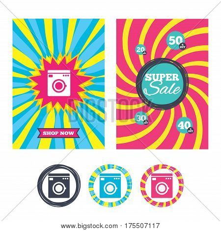 Sale banners and labels. Special offer tags. Washing machine icon. Home appliances symbol. Colored web buttons. Vector
