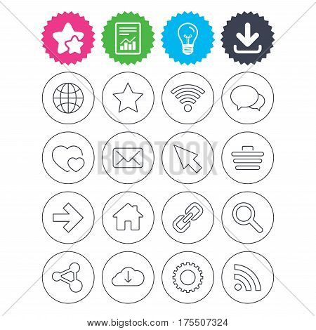 Download, light bulb and report signs. Internet and Web icons. Wi-fi network, favorite star and internet globe. Hearts, shopping cart and speech bubbles. Share, rss and link symbols. Vector