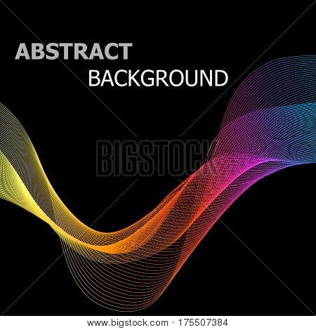 Abstract colorful line wave on black background, stock vector