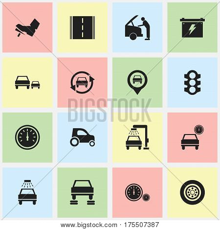 Set Of 16 Editable Car Icons. Includes Symbols Such As Treadle, Race, Car Lave And More. Can Be Used For Web, Mobile, UI And Infographic Design.