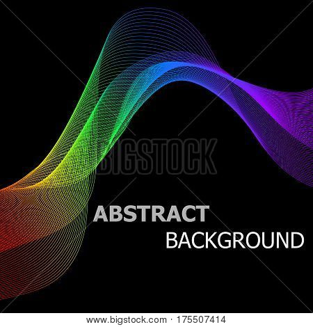Abstract background with colorful lines wave, stock vector
