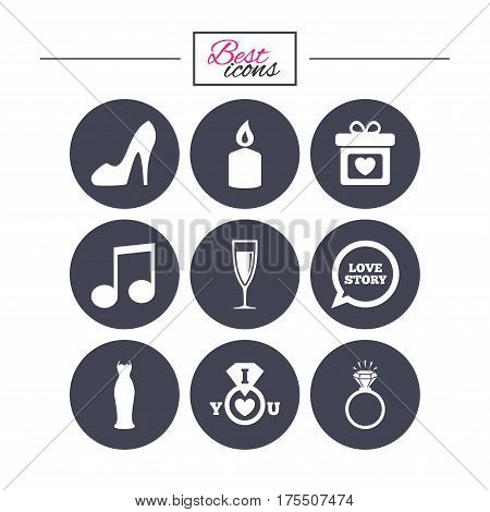 Wedding, engagement icons. Ring with diamond, gift box and music signs. Dress, shoes and champagne glass symbols. Classic simple flat icons. Vector
