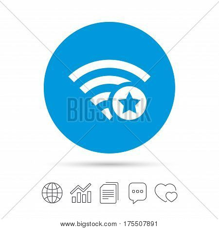 Wifi star sign. Favorite Wi-fi symbol. Wireless Network icon. Wifi zone. Copy files, chat speech bubble and chart web icons. Vector