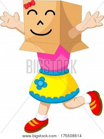 cute girl cartoon playing cardboard for you design