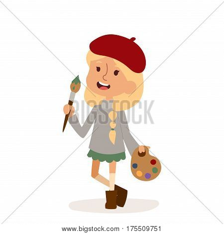 Artist girl with art brush isolated on white. Cute cartoon vector profession artist kid with brush children vector.