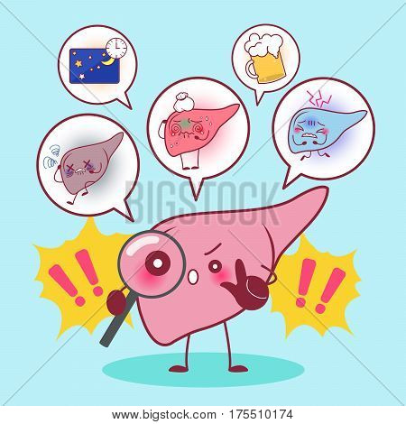 cute cartonn liver with health problem concept
