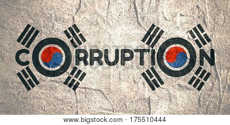 Corruption word. Illustration relative to Korean politic crisis. National flag elements. Billboard concept. Grunge texture