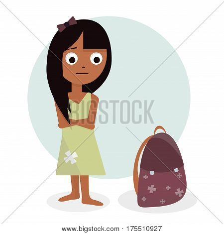 Schoolgirl illustration. Character design for animation. Girl cartoon animated. Isolated on white background.