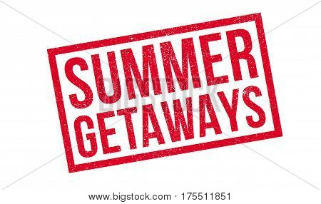 Summer Getaways rubber stamp. Grunge design with dust scratches. Effects can be easily removed for a clean, crisp look. Color is easily changed.
