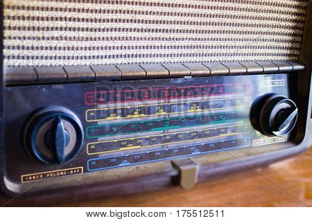 Retro Radio On Wooden Table stock photo