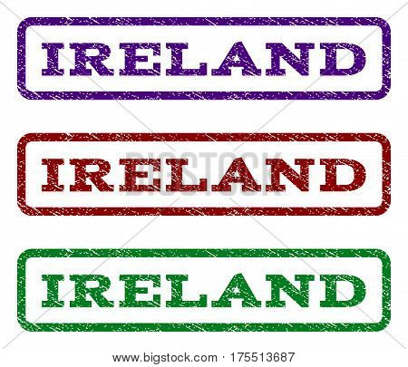 Ireland watermark stamp. Text caption inside rounded rectangle with grunge design style. Vector variants are indigo blue, red, green ink colors. Rubber seal stamp with unclean texture.