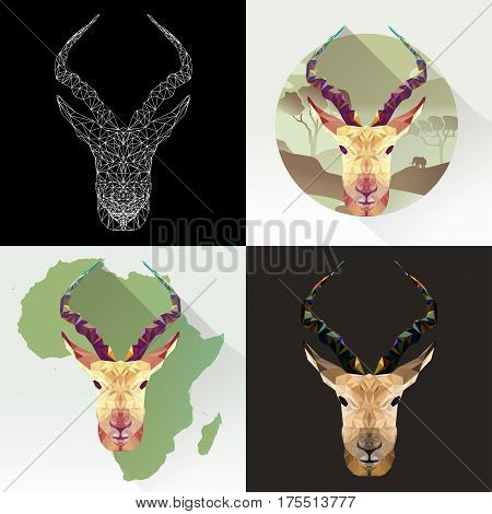 Vector set animal for tattoo, coloring, wallpaper, poster and printing on t-shirts. Antelope abstract image. Gazelle animal in polygon shape. Antelope low poly silhouette.