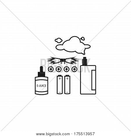 Set of Vapor Line Vector. Isolated on White.