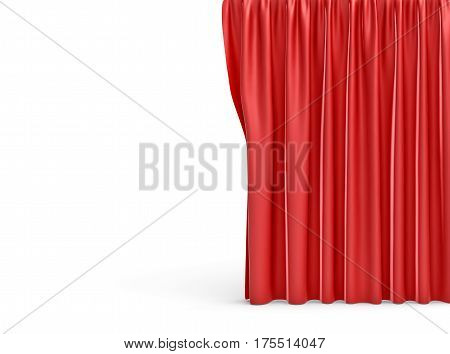 3d rendering of a straight red closed curtain on white background. Ads and promotions. Theater. Opening shows.