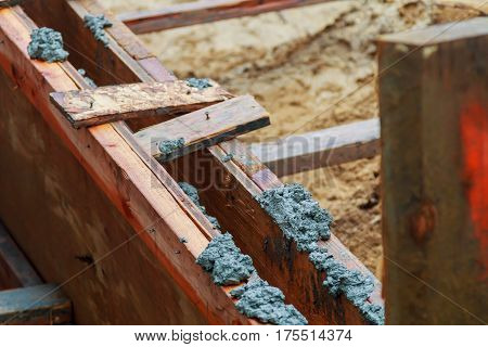 Wood formwork of concrete reinforcement beam. formwork concrete to fill