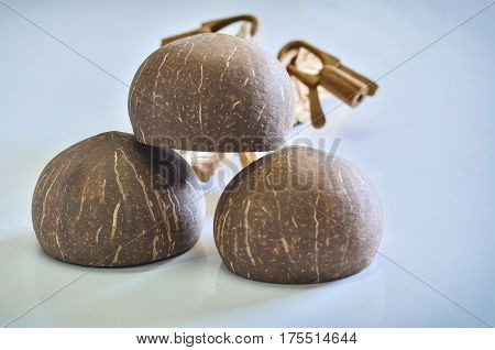 Group dipper made from Coconut shell on white light