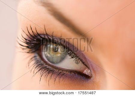 beautiful woman`s open green eye