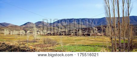 Small village  in the High Atlas Mountains  in Morocco during winter. panorama view