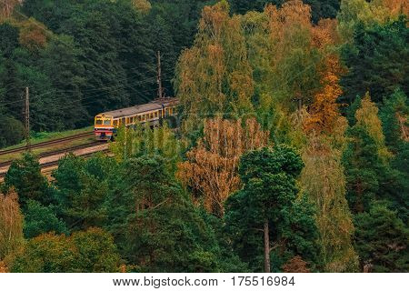 Passenger electric train moving through the forest in Riga