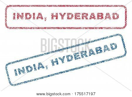 India Hyderabad text textile seal stamp watermarks. Blue red fabric vectorized texture. Vector caption inside rounded rectangular banner. Rubber sign with fiber textile structure.