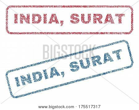 India Surat text textile seal stamp watermarks. Blue red fabric vectorized texture. Vector tag inside rounded rectangular banner. Rubber sticker with fiber textile structure.