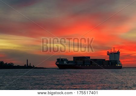 Red Container Ship