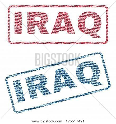 Iraq text textile seal stamp watermarks. Blue red fabric vectorized texture. Vector tag inside rounded rectangular banner. Rubber emblem with fiber textile structure.