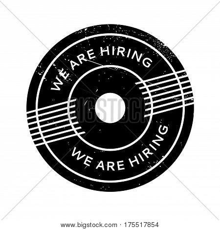 We Are Hiring rubber stamp. Grunge design with dust scratches. Effects can be easily removed for a clean, crisp look. Color is easily changed.