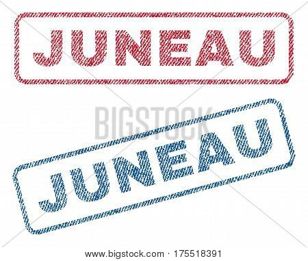 Juneau text textile seal stamp watermarks. Blue red fabric vectorized texture. Vector caption inside rounded rectangular shape. Rubber sticker with fiber textile structure.