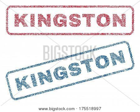 Kingston text textile seal stamp watermarks. Blue red fabric vectorized texture. Vector tag inside rounded rectangular banner. Rubber sticker with fiber textile structure.
