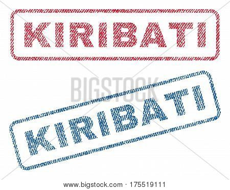Kiribati text textile seal stamp watermarks. Blue red fabric vectorized texture. Vector tag inside rounded rectangular banner. Rubber sticker with fiber textile structure.