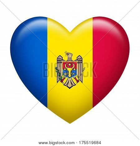 Heart shape of Moldova insignia isolated on white