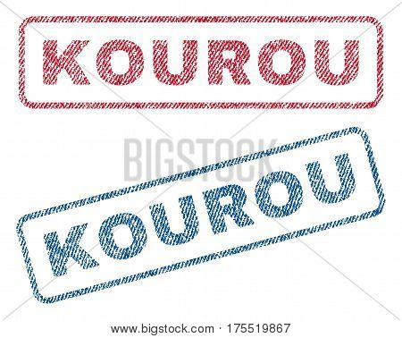 Kourou text textile seal stamp watermarks. Blue red fabric vectorized texture. Vector caption inside rounded rectangular shape. Rubber sticker with fiber textile structure.