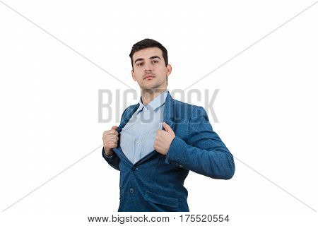 Young businessman acting with courage like a super hero and tearing his shirt off. Proud of yourself emotion isolated on white background.