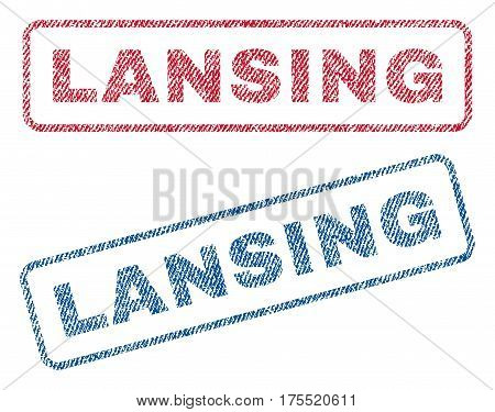Lansing text textile seal stamp watermarks. Blue red fabric vectorized texture. Vector caption inside rounded rectangular banner. Rubber sign with fiber textile structure.