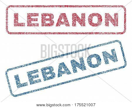 Lebanon text textile seal stamp watermarks. Blue red fabric vectorized texture. Vector caption inside rounded rectangular shape. Rubber emblem with fiber textile structure.