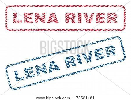 Lena River text textile seal stamp watermarks. Blue red fabric vectorized texture. Vector tag inside rounded rectangular shape. Rubber emblem with fiber textile structure.