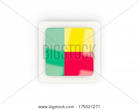 Square Carbon Icon With Flag Of Benin