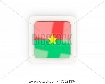 Square Carbon Icon With Flag Of Burkina Faso